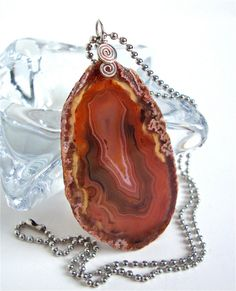 Natural brown agate slice necklace  agate by sparklecityjewelry, $20.00