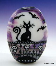 """KEEPER OF THE CASTLE"" by KAYO a Handmade HALLOWEEN Lampwork Glass Focal Bead SRA"