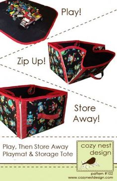 Play mat zips into cube storage