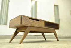 Custom Made Mid Century Inspired Solid Walnut Coffee Table