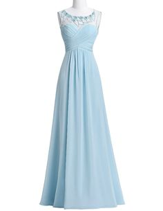 Light Blue Sweetheart Illusion Beaded Embellished Long A-Line Chiffon Prom Dress with Backless Detailing - Evening Dress