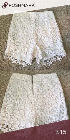 White Crochet Shorts High-waisted white crochet shorts. Zipper in back. Flower crochet pattern.  White lining on inside.  Feel free to comment for any more details. Offers welcome. Hollister Shorts