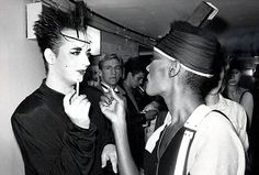 Boy George and Grace Jones.  Somehow I thought Grace Jones would be taller than Boy George.