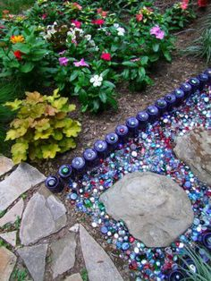 Around The Garden mexican feather grass and zinnias with colored glass path Garden Edging, Garden Paths, Garden Art, Garden Grass, Dream Garden, Mexican Feather Grass, Container Water Gardens, Indoor Flower Pots, Bottle Trees