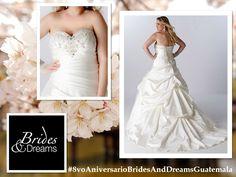En Brides and Dreams tenemos el #VestidodeNovia que tanto as anhelado, con el que podrás lucir espectacular el día de tu boda, ademas contamos con tallas Plus.  Visitalos en Portal de Bodas con #NuevosyMejoresServicios para tus #EventosEspeciales.  #8voAniversarioBridesAndDreamsGuatemala