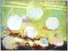 "Skot Foreman Gallery Macuria (Merc) Montolanez ""Haystacks"" 2002 Oil and encaustic canvas 9 x 12 in 23 x 30 cm Hand-signed & dated Macuria Montolanez"" verso Fine Art Gallery, Surrealism, Pop Art, Street Art, Oil, Abstract, Canvas, Artwork, Artist"
