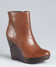 Diane Von Furstenberg cognac distressed leather carved wedge 'Opalista' ankle boots | BLUEFLY
