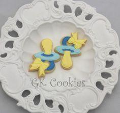 Baby Cookies, Baby Shower Cookies, Sugar Cookies, Pacifiers, Holiday Cookies, Baby Showers, Christening, Cookie Cutters, Icing