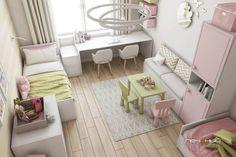 Дизайн интерьера детской для двух девочек. Современный стиль. Цвета: серый, белый, жёлтый, салатовый, розовый.