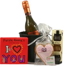 With Love!  Mrs Bridges Celebration Preserve, Collection, Purple Ronnie's I Heart You fun and cute lovable book, I Love You Heart Shaped Gingerbread Cookie A 200ml bottle of Sparkling and slightly fruity Rosé Wine. £16.99