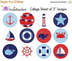 40% OFF SALE Nautical Digital Collage Sheets by StripedElephants
