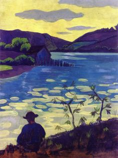 Paul Sérusier - Fisherman by the Laïta, 1890. Tempera on board on panel, 65.1 cm (25.63 in.) x 50.5 cm (19.88 in.). Private Collection