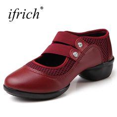 bc6f06d87 Dance Shoes Women Elastic Band Ballroom Dance Shoes Women Red Black Jazz  Dance Sneaker Rubber Bottom