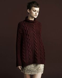 Dark Wine chunky cable pullover!
