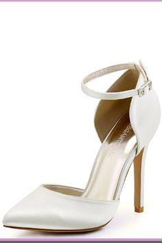 ElegantPark Women s Pointed Toe High Heel Ankle Strap D Orsay Satin Dress Pumps  high heel ivory wedding shoes  wedding  weddingShoes  WomensFashions   ... 152a1acf39af