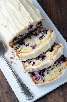 blueberry cake with what I hope I cream cheese frosting.