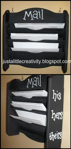 Mail Holder - adorable! This would be a great way to keep the mail off the table and cupboards! Definitely want to make it.... Now where to put it?? :)