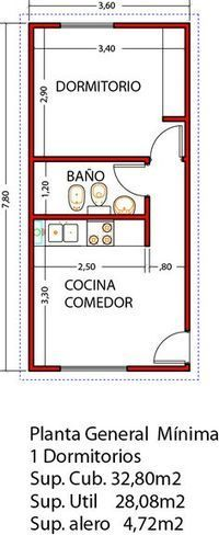 Vivienda de 1 dormitorio ampliable a 3 dormitorios en un futuro - Viviendas Tríade Studio Apartment Floor Plans, Apartment Plans, Small House Plans, House Floor Plans, Plan Ville, Tyni House, Mini Loft, Casas Containers, Apartment Layout