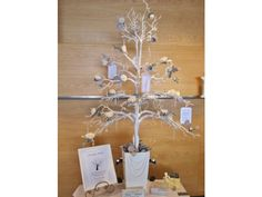 White Manzanita Wishing Tree - 5 Foot Tall Wedding Wishing Tree for Wish Tags , I've seen them just with lights at receptions and they are gorgeous!