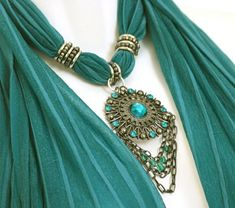 Simple way to attach vintage pendants.Scarf Jewelry Teal Scarves With Pendants by RavensNestScarfJewel Scarf Rings, Scarf Necklace, Scarf Jewelry, Tassel Necklace, Pendant Necklace, Teal Jewelry, Fabric Jewelry, Turquoise Necklace, Jewelery