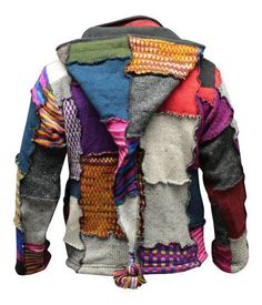 Men s Tye Dye Patchwork Hippie Jacket Fleece Lined Festival Boho Hippy Sweater