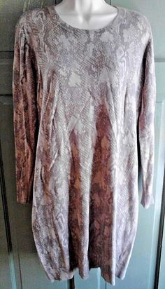 Old Navy Sweater Dress Beige Snakeskin Women's Large Soft and Comfy Knit…