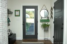 Thrifty DIY Mudroom Reveal.  Little House of Four.  Doors: Iron Ore, SW