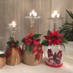 30 Cheap and Easy Homemade Wine Glasses Christmas Candle Holders Christmas wine glass candle holder ; DIY Home Decor Ideas; cheap and easy candle holders.