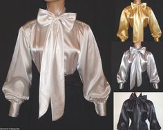 SHINY New LIQUID SATIN Long Sl BOW BLOUSE Top vtg HIGH NECK Shirt S M L 1X 2X 3X #tamarstreasures #Blouse #EveningOccasion