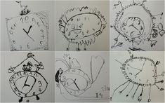 HODINY - vymyslet vlastní design hodin, zaměřit se na nápodobu číslic (kresba tuší a dřívkem)  #hodiny #design_hodin #cas #detske_hodiny #kresba_tusi #rozvoj_fantazie #vytvarna_vychova #detska_kresba #clock #time #design_clock #children_clock #drawing_ink #pencil_drawing #art_education #childrens_drawing #fantasy_development #preschool_art #kidscraft  #monochrome #cernobily Preschool Art, Art Education, Container, Clock, Activities, Wall, Zero, Drawing, Design