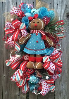 Christmas Swag Christmas Wreath Holiday Swag by BaBamWreaths Candy Land Christmas, Aqua Christmas, Whimsical Christmas, Christmas Gingerbread, Christmas Time, Christmas Crafts, Gingerbread Men, Christmas Ideas, Christmas Door Hangings
