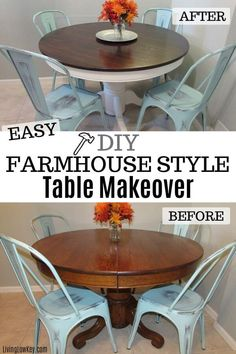 Tips and tricks on how to repurpose a kitchen table and turn it into a rustic farmhouse masterpiece. This shows the step by step process of sanding, painting and staining. If you are looking for a DIY project give this one a try. Farmhouse Dining Room Table, Kitchen Tables, Rustic Table, Dining Table, Diy Furniture Projects, Diy Projects, Furniture Makeover, Joy Furniture, Upcycled Furniture
