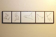 Minimalist Animal Art - Drawings Mounted on Wood - Shark, Otter, Orca, Wolf, Eagle