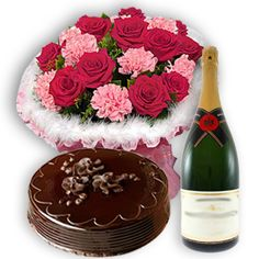 An Exclusive combo gift of beautiful 15 red and pink roses and carnations hand bouquet nicely wrapped with beautiful cellophane along with 500 gms. chocolate truffle/chocolate flavour cake clubbed with 750 ml champagne bottle nicely tied with gift ribbon(brands delivered are as per availability and best possible quality delivery). - send this exclusive gift to your loved ones though us