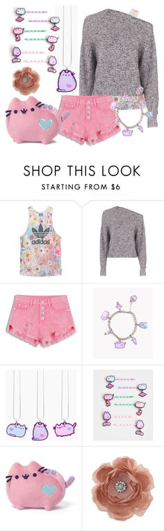 """""""Pastel Pusheen and Flowers"""" by olivia-lupin ❤ liked on Polyvore featuring adidas Originals, T By Alexander Wang, Pusheen, claire's and Miss Selfridge"""