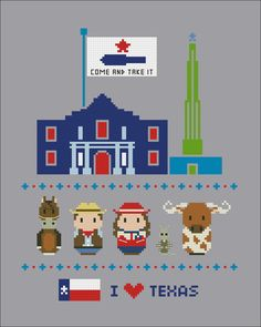 Texas icons Mini people around the world PDF by cloudsfactory