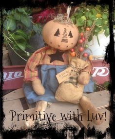 Primitive Halloween Fall Autumn pumpkin head raggedy doll with bag of crow  #NaivePrimitive