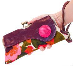 Vegan Clutch Purse, Kisslock Purse Frame, Vintage Pink & Red Floral Fabric,