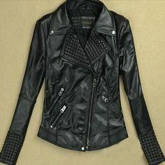 Women Genuine Leather Jackets Fashion Female RIvet Winter Motorcycle Brand Coat Outwear Free Shipping $49.50