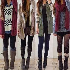 casual outfits with leggings and layering + boots