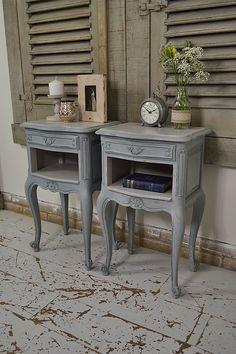 Looking for something slightly different for your bedroom? This pair of French shabby chic bedside tables have been painted in a blue-grey over green, with F&B Purbeck Stone tops and inside area. We love their rustic French charm in traditional French Chateau colours. http://www.thetreasuretrove.co.uk/bedroom-storage/pair-of-french-shabby-chic-bedside-tables