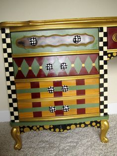 Funky Hand Painted Furniture   On Sale: French Provincial Vintage Desk Hand Painted Funky Furniture ...