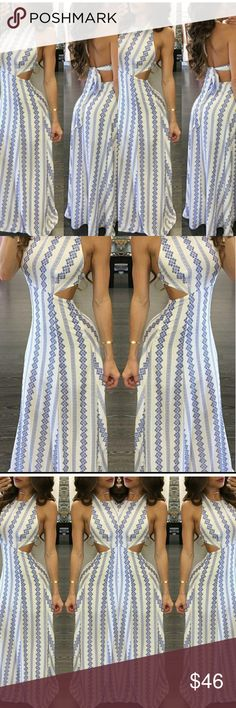 Backless Printed Strappy Maxi Dress size:S,M,L,XL bust(inch):S:34;M:36;L:38;XL:40; length(inch):S:59;M:59;L:59;XL:59; waist(inch):S:28;M:30;L:32;XL:33; color:White pattern:Print neckline:U Neck material:Milk Silk? style:Fashion,Sexy sleeveLength:Sleeveless Dresses Maxi