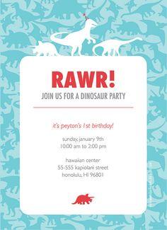 A dinosaur 1st birthday party invitation