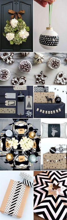 Black & White Themed Christmas Decor via A Fabulous Challenge