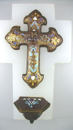 FRENCH Religious Antique CHAMPLEVE Enamel HOLY WATER Font Crucifix Cross White ALABASTER-champ