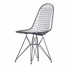 The Eames DKR Wire Chair from Vitra mirrors the form of the Plastic Side Chair, a staple of the Eames' repertoire. Outside Furniture, Grey Furniture, Furniture Design, Furniture Chairs, Kitchen Chairs, Dining Room Chairs, Lounge Chairs, Scandinavian Chairs, Wire Chair