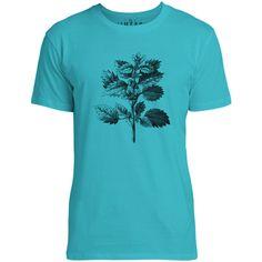 Mintage Wild Nettle Illustration Mens Fine Jersey T-Shirt (Teal)