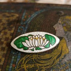 Antique white lotus brooch- enamel on brass pin flower victorian deco nouveau guilloche waterlily water lily broach oval vintage jewelry