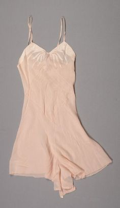 Peach silk combination (teddy) with satin leaf-shaped appliqué, attributed to Herminie Cadolle, French, c. 1930s.